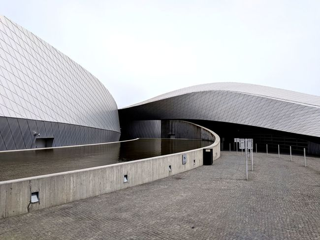 Water Modern City Sky Architecture Building Exterior Built Structure Concrete Museum Cement Solid