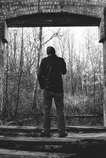 Lost in the Moment Black And White Man Single Person Woods Leather Jacket Standing