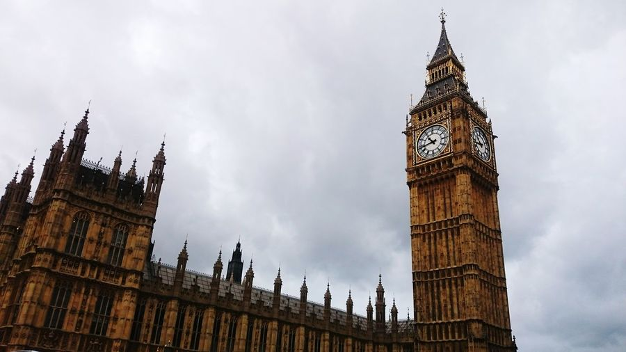 Low angle view of houses of parliament and big ben