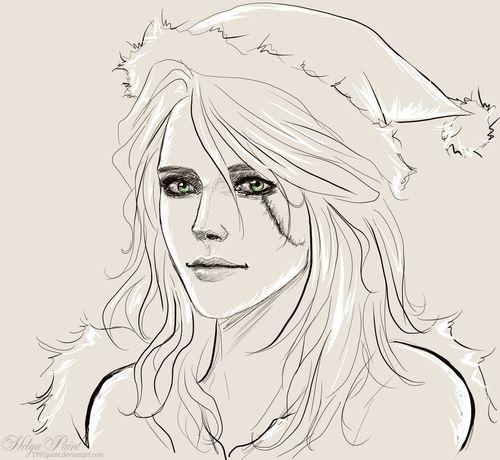 1995paint 2017 Ciri Cirilla Happynewyear HelgaPaint Sapkowski Sketch Art Cirithewitcher Face Fantasy Fantasygirl Girl Longhair Person Portrait Scar Thewitcher Thewitcher3 Thewitcher3wildhunt Youngwoman