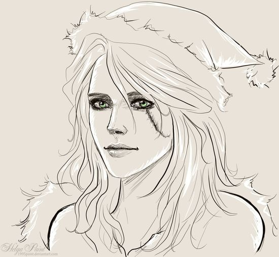 1995paint 2017 Ciri Cirilla Happynewyear HelgaPaint Sapkowski Sketch Art Cirithewitcher Face Fantasy Fantasygirl Girl Longhair Person Portrait Scar Thewitcher Thewitcher3 Thewitcher3wildhunt Youngwoman