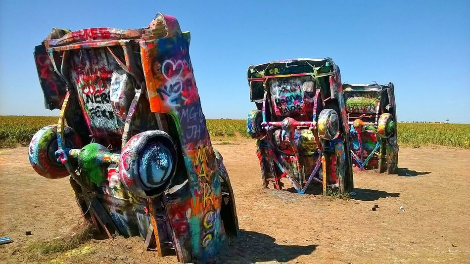 Route 66 RoutesGallery Amarillo, TX Cadillac Ranch Spraypaint Multi Colored Cars