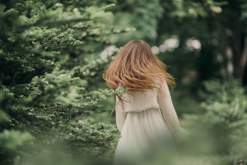 Green prickly branches of tree in focus against the background of fleeing blurry girl with long hair