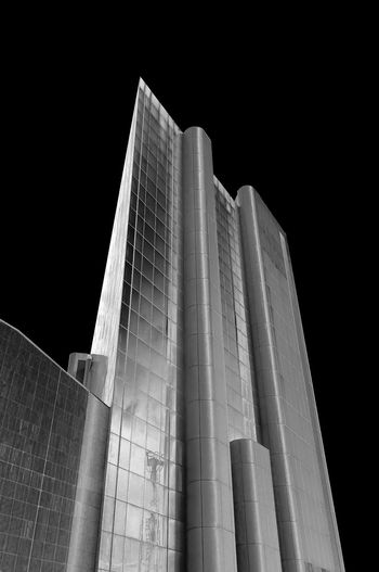 Skyscraper in black and white - Genova - Italy Architecture Built Structure Low Angle View Building Exterior No People Building Office Building Exterior Modern Sky Tall - High Nature Clear Sky City Night Skyscraper Tourism Tower Travel Destinations Outdoors Pattern Black Background Genova Liguria Italy Glass