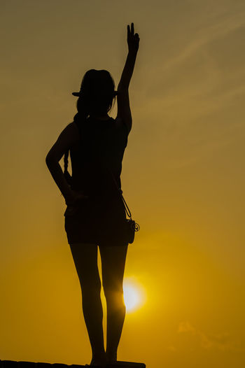 Silhouette One Person Adult People Arts Culture And Entertainment Standing Adults Only One Woman Only Sunset Only Women Full Length Portrait Outdoors Young Adult Sky Day