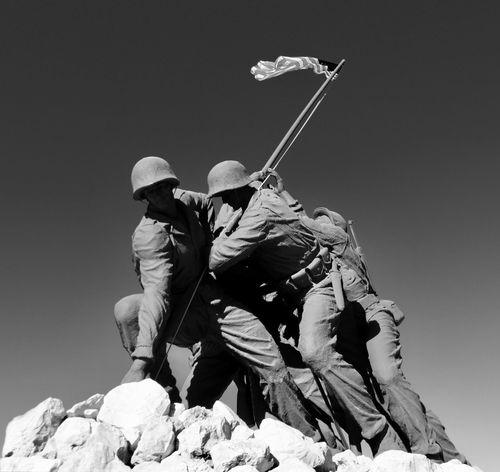 Iwo Jima Monument Marine Corps USMC United States Flag  Clear Sky Day Iwo Jima Iwo Jima Memorial Low Angle View Marines Men Monument Outdoors People Real People Sky Weapon