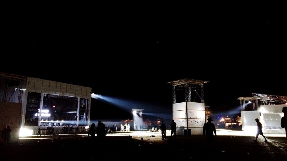 When all of the concerts are over, and another festival day has passed, these amazing lights are being turned on.. Light And Shadow Contrast Silhouette Roskilde Festival Night Night Lights Concert Festival Goodnight People And Places