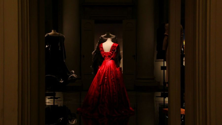 Red Pitti Palace Collection Exhibition Photography Interior Fashion Costume Skirt Florence Italy Design Indoors  Arts Culture And Entertainment Red