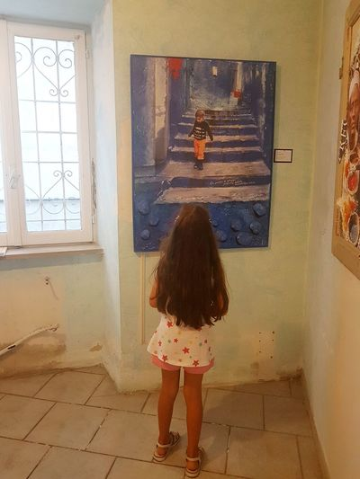 Indoors  Window Children Only One Girl Only One Person Child Rear View People Day Childhood Art Exhibition Painting Art