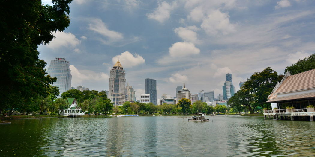 Urban skyline. Lumphini Park. Bangkok Artificial Lake Asian  Bangkok Bangkok Thailand. City City Life Cityscape Cityscapes Cloud - Sky EyeEm Thailand Lumphini Park Modern Outdoors Skyline Skyscraper Thai Thailand Travel Travel Photography Urban Skyline Waterfront