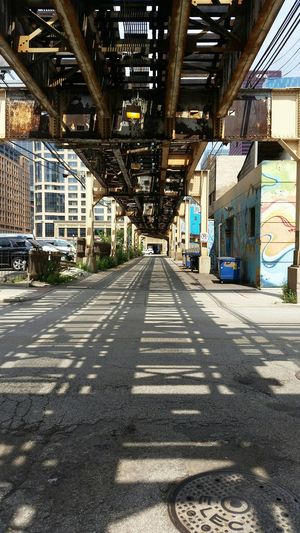 Shadow Shadows & Lights Shadow And Light Shadows El Chicago Chicago Architecture Chicago Elevated Chicago El Station Train Tracks Alley Chicago Creative Light And Shadow Artsy Fartsy