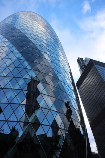 Architecture Built Structure Building Exterior Low Angle View Glass - Material Reflection Modern Office Building City Tall - High Tower Building Sky Skyscraper Blue Outdoors Day Glass Cloud - Sky Tall Gherkin Tower London City Life City Of London London Lifestyle