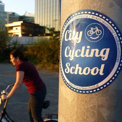 Radfahren Radfahrkurs auf der Donauinsel in Wien . Cycling cyclingcourse in Vienna.