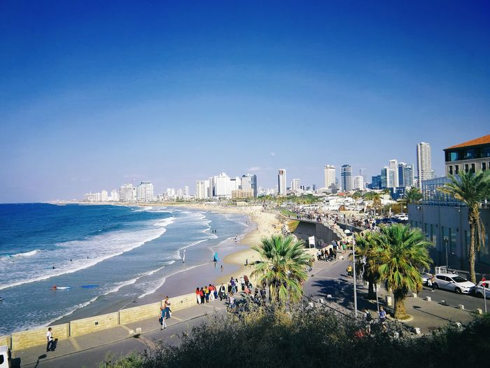 Sunny Tel Aviv Israel Tel Aviv City Sea Clear Sky Water Sand Beach Volleyball Summer Sky Architecture