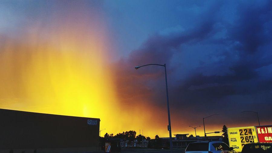 Orange Sky Blue Skies Clouds Two Toned Sky Denver,CO Scenicsunset Sunset Colors Urban
