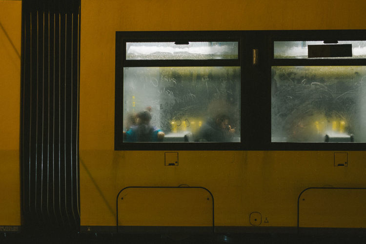 rainy nights. Berlin Window Glass - Material Transparent Smoke - Physical Structure Indoors  Yellow No People Nature Day Mode Of Transportation Close-up Transportation Wall Architecture Rail Transportation Cloud - Sky Metal Built Structure