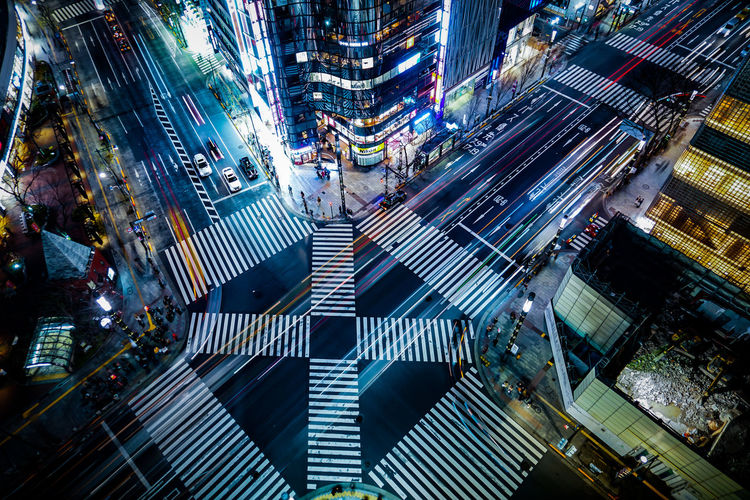 High angle view of illuminated city street