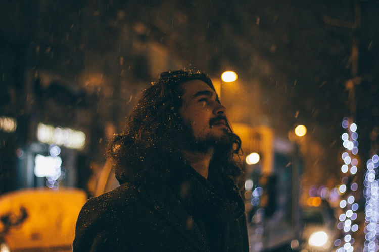Canon Canonphotography Confidence  Contemplation Depth Of Field Glowing Illuminated Lifestyles Light Night Person Portrait Portrait Of A Friend Real People Selective Focus Serious Showcase: January Snow VSCO Vscofilm