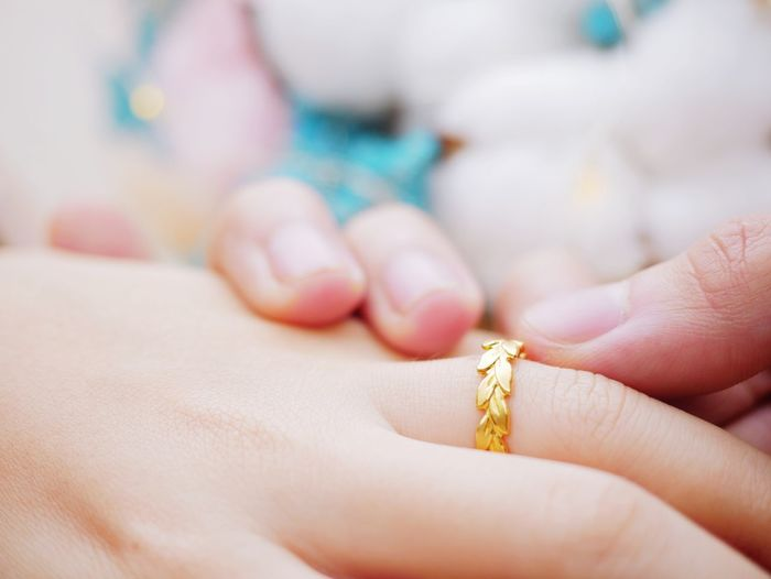 Cropped image of hands with gold wedding ring
