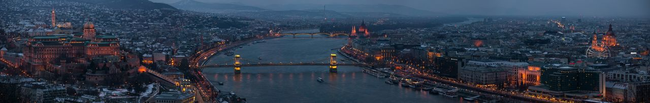 Panoramic view of chain bridge and cityscape at dusk