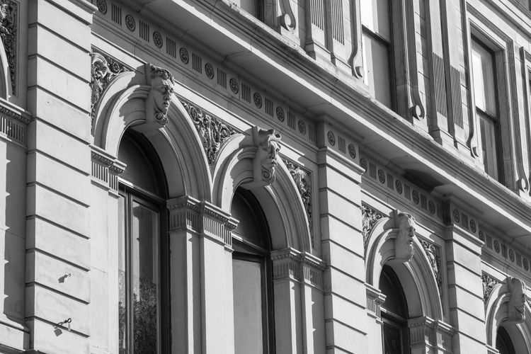 Decorative stonework on The Wardwick Arch Architecture Black And White Photography Building Exterior Built Structure Day Detail Low Angle View No People Outdoors Sculptures Stonework