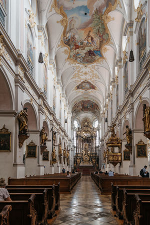 Interior view of Church of St Peter in munich Architecture Catholic Cityscape Munich Pray Travel Worship Arch Architectural Column Architecture Day Indoors  Nave No People Peterskirche Pew Place Of Worship Religion Spirituality