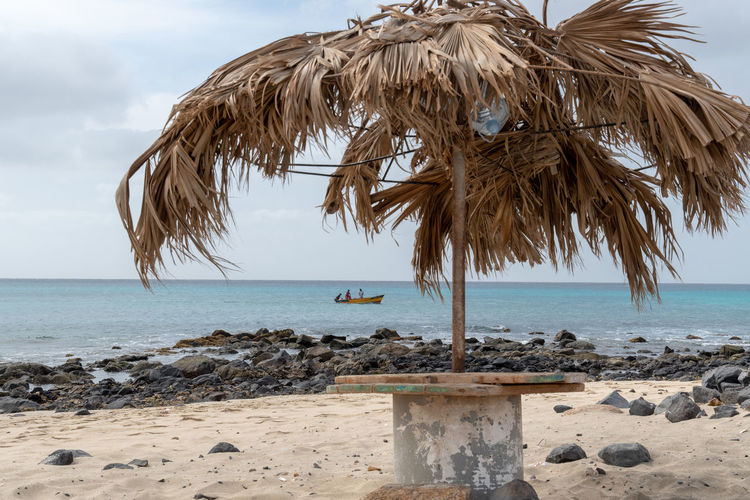 Hoffi99 Nature Sea Water Beach Horizon Sky Horizon Over Water Land Beauty In Nature Tranquil Scene Tranquility Scenics - Nature Sand Day No People Thatched Roof Tropical Climate Palm Tree Cloud - Sky Outdoors Palm Leaf