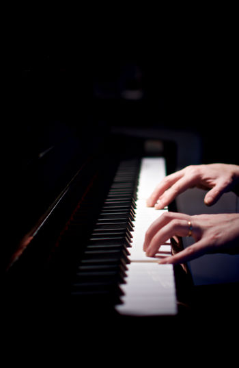 Cropped Image Pianist Playing Piano
