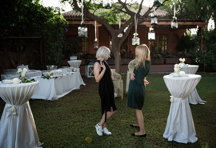 Wedding in Tenerife Candles Dress Linas Was Here Tree Wedding Blondes Chatting Girls Lamps Meadow Tables Tenerife Yard
