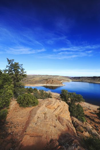 overlooking gunlock Blue Sky Landcape Scenic Lake Reservoir Southwest  Blue Water Gunlock State Park Sand Tranquility Sky Desert Water Beauty In Nature Outdoors