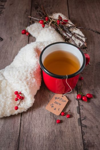 good wishes 2018: cup and red berries New Year's Day New Year Desire Food And Drink Greeting Card  Greetings Happy Year Happıness No People Red Tea - Hot Drink Wish Wood - Material
