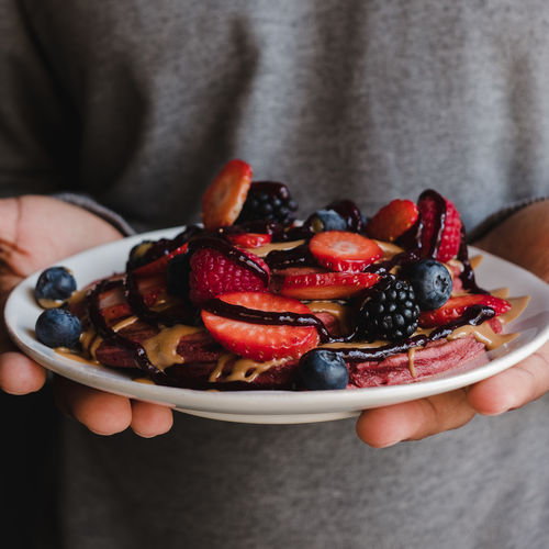 Food Food And Drink Fruit Berry Fruit Healthy Eating Holding Freshness One Person Wellbeing Midsection Human Hand Hand Strawberry Human Body Part Real People Lifestyles Front View Healthy Lifestyle Bowl Temptation Breakfast Ripe Pancakes