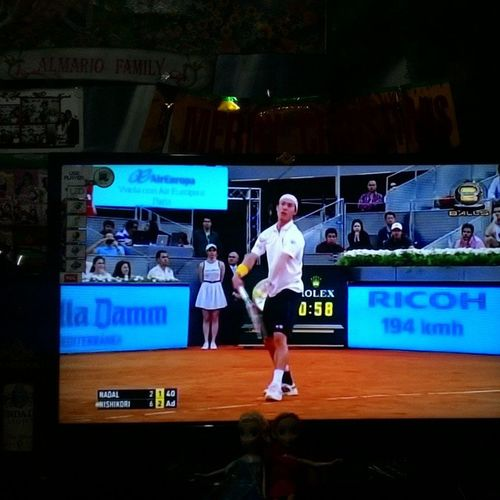 Now watching replay of match between Nadal and Nishikori Atpmadrid Nadal Nishikori