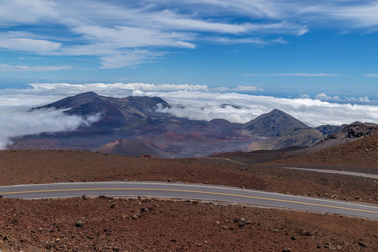 Haleakala Volcano Amazing View Hawaii Maui Volcano Landscape Above The Clouds Arid Climate Beauty In Nature Climate Cloud - Sky Environment Idyllic Land Landscape Mountain Mountain Peak Nature No People Physical Geography Remote Road Road Trip Scenics - Nature Sky Tranquil Scene Tranquility
