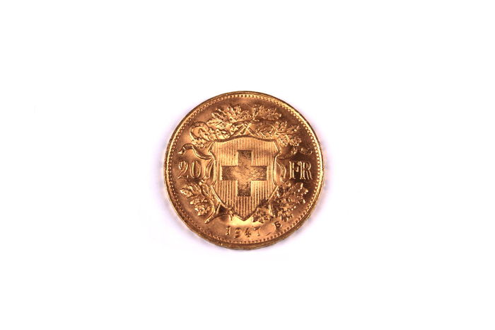 Close-up Coin Currency Finance Gold Helvetia Helvetica High Angle View Investment Isolated Isolated White Background Real Savings Single Object Studio Shot Swiss Switzerland Top View Wealth White Background