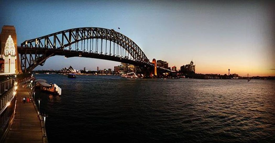 The iconic Sydney Harbour Bridge at sunset. Sydneysights Sydney Harbour