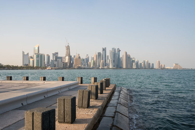 Panoramic View Of Sea And Buildings Against Clear Sky
