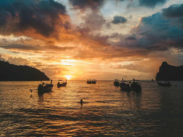 Sunset Silhouettes Sunset_collection Thailand Beauty In Nature Cloud - Sky Orange Color Outdoors Scenics - Nature Sea Sky Sunset Thailandtravel Tranquility Warm Water