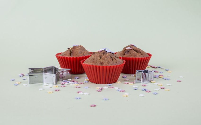Annual Event Birthday Cake Cupcakes Day Indoors  Muffins No People Red Studio Shot