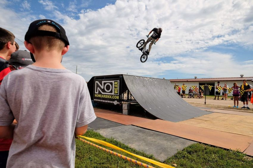 Nowear BMX Team Nebraska State Fair September 1, 2018 Grand Island, Nebraska Camera Work Check This Out Event EyeEm Best Shots FUJIFILM X-T1 Fujinon 10-24mm F4 Getty Images Grand Island, Nebraska Nebraska State Fair NowearBMX Photo Essay Photojournalism RISK Skill  Stunt Action Action Shot  Bicycle Bmx  Boys Casual Clothing Child Childhood Cloud - Sky Day Extreme Sports Freestyle Group Of People Incidental People Leisure Activity Lifestyles Males  Men Mid-air Nature Outdoors People Real People S.ramos September 2018 Skateboard Park Skill  Sky Spectator Sport