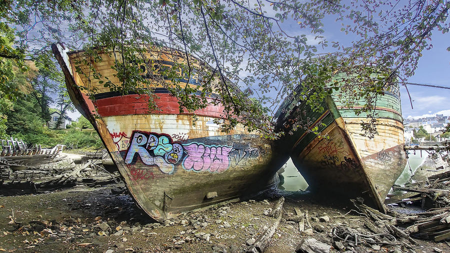 Ship Wreck Tree Abandoned Plant Day Nature Graffiti No People Art And Craft Text Land Creativity Obsolete Damaged Run-down Outdoors Old Deterioration Western Script Decline Nautical Vessel