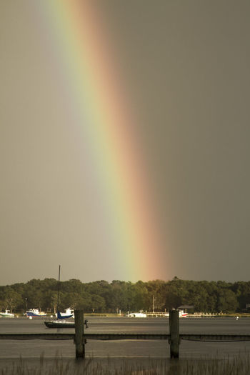 a rainbow over