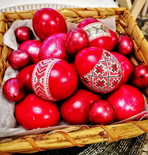 Eggshell Eggs... Easter Easter Eggs Tradition Romanian Easter Traditions Religion And Tradition Red Basket High Angle View Close-up Food And Drink Holy Week Easter Egg Easter Egg Hunt