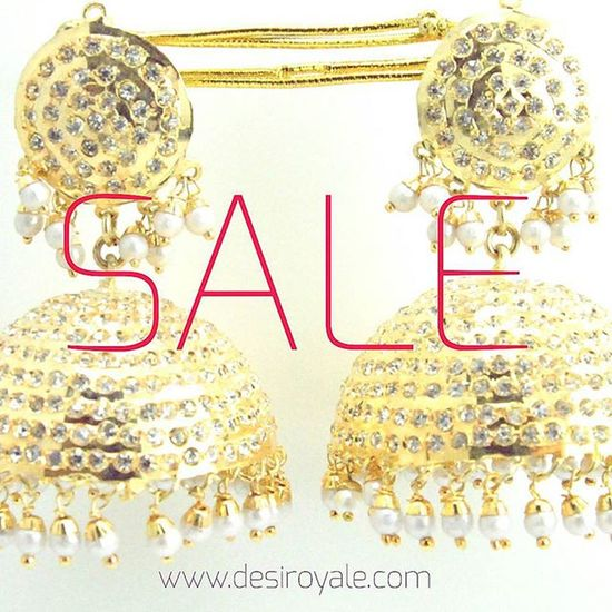www.desiroyale.com Check out our Beautiful Goldplated Pearl Earrings Jhumka upto 60%off Sale Free Shipping  Desi Desiroyale Wedding Punjabi Picoftheday Photooftheday Indianbride Accessories Jewelry Buy Online  Shopping Lehenga Desiweddings Anarkali Indiansuit Diwali rakhi gift bride bridal