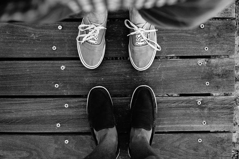 Close-Up Of The Shoes Of Two Men Face To Face