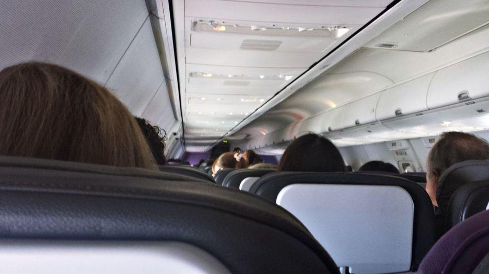 Passengers in aeroplane Aeroplane Ceiling Aeroplane Interior Group Of People Journey Mode Of Transport On The Way Passengers Plane Interior Sitting Transportation Traveling Travellers Vehicle Seat