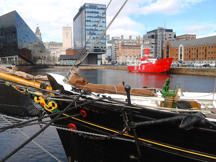 Architecture Boat Building Exterior Built Structure Day Harbor Liverpool Liverpool Port Mode Of Transport Moored Nautical Vessel No People Outdoors Red Color Ship Sky Transportation
