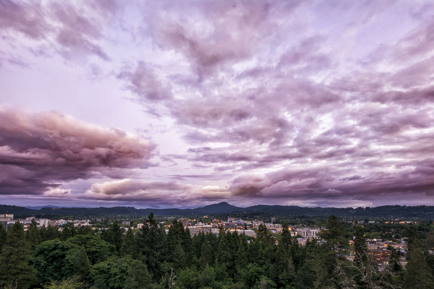 Downtown Eugene, Oregon at sunset, seen from Skinner's Butte. Architecture Beauty In Nature City Cityscape Cloud Cloud - Sky Cloudy Dramatic Sky Landscape Mountain Nature Outdoors Scenics Sky Town TOWNSCAPE Tranquil Scene Tranquility Tree Weather