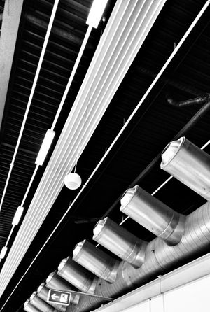 Black & White Ceiling Linegasm Repetition Looking Up Emergency Exit