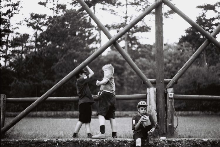 Boys Childhood Children Day Friendship Outdoors Playing Warning